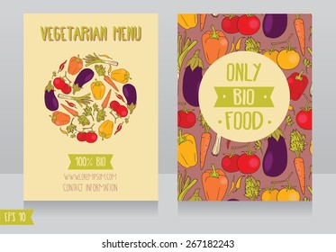 menu cards template for vegan cafe, can be used as promo cards for organic foods shop or as flyer for farmers market,vector illustration