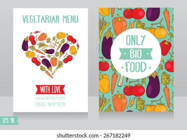 menu cards template for vegan cafe, can be used as flyer for  animal protection organization or as promo cards for organic foods shop, vector illustration