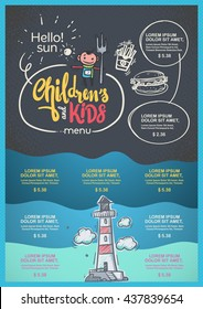Menu for Childrends and kids template.
