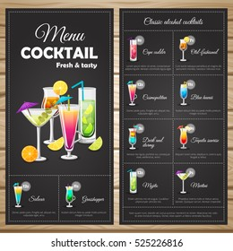Menu classic alcohol cocktails with types of cocktails price and ingredients on black background vector illustration