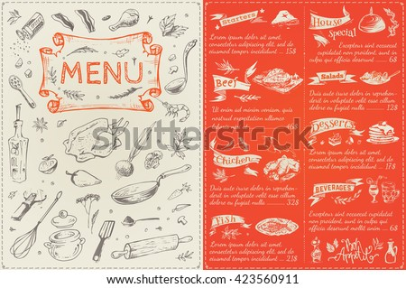Menu Cover Page Menu List Sketches Stock Vector Royalty Free