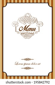 Menu cover template design for restaurant in vector