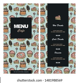 Menu design for cafe, coffee shop, bistro, restaurant. Hand-drawn vector illustration in pastel colors, retro style.