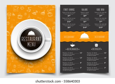 Menu design for restaurant or cafe with a cup of black coffee on the orange cover. Templates 2 A4 pages with drawings of hands and produk prices. Vector illustration.