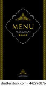 Menu design for restaurant.Oriental cuisine restaurant menu design.