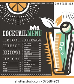 Menu design template for cocktail lounge. Cocktail list cover illustration. Vector graphic. Drinks menu.