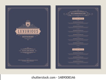 Menu design template with cover and restaurant vintage logo vector brochure. Spoon symbol illustration and ornament frame and swirls decoration.