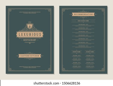 Menu design template with cover and restaurant vintage logo vector brochure. Fork symbol illustration and ornament frame and swirls decoration.