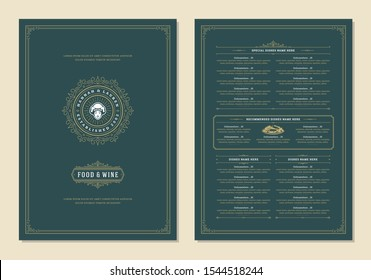 Menu design template with cover and restaurant vintage logo vector brochure. Female chef face in hat symbol illustration and ornament frame and swirls decoration.