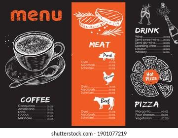 Menu. Design template, Vector hand drawn illustration.