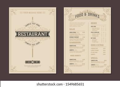 Menu design vector brochure template and Restaurant logo. Vector layered