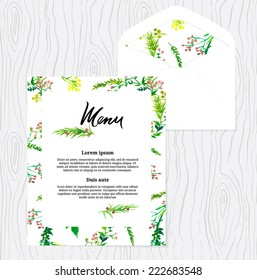 Menu and envelope template with floral design