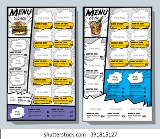 Menu for fast food in the style of comics. Vector Image burger and cola.