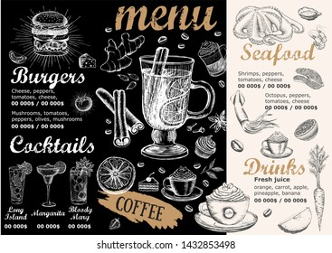 Menu Food flyer. Restaurant cafe menu, template design.