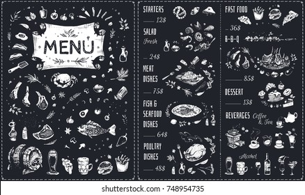 Menu - food icons white chalk on blackboard. Hand drawn Isolated vector sketches - meat dishes, barbecue, poultry, fast food, fish & seafood, beverages & dessert