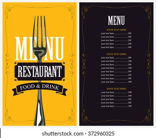 menu with fork for the restaurant in retro style