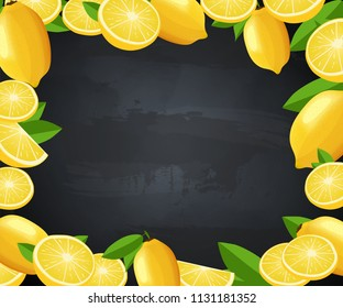 Menu frame with lemons. Poster with blackboard vector illustration with citrus on background