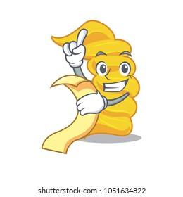 With menu fusilli pasta mascot cartoon