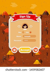 Menu of graphical user interface on screen of 2d mobile game application in flat cartoon style with fire lava theme