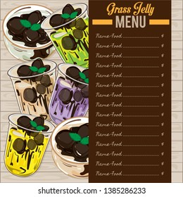 menu grass jelly graphic cup template food drink dessert object