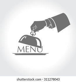 Menu, the hand of a waiter holding a platter 2
