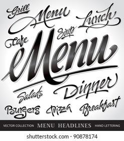 menu headlines, hand lettering set (vector)