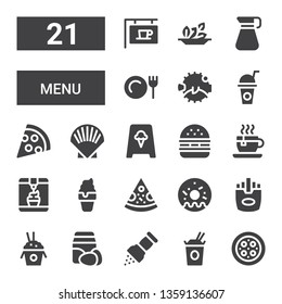 menu icon set. Collection of 21 filled menu icons included Pizza, Noodles, Pepper, Ingredients, Rice, Fries, Doughnut, Ice cream, Tea cup, Hamburger, Shell, Drink, Blowfish, Dinner