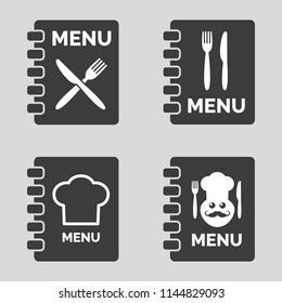 Menu icons on grey background. Vector illustration