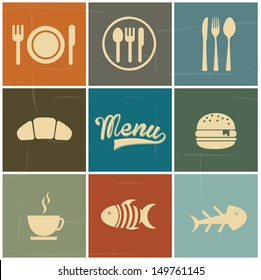 menu icons over colorful background vector illustration