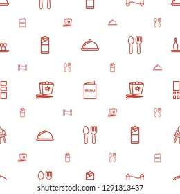 menu icons pattern seamless white background. Included editable outline dish, manuscript, burrito, chinese fast food, spoon and fork, grid icons. menu icons for web and mobile.