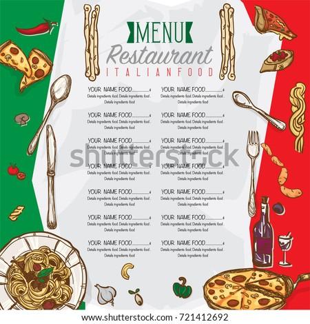 Menu Italian Food Restaurant Template Design Stock Vector Royalty