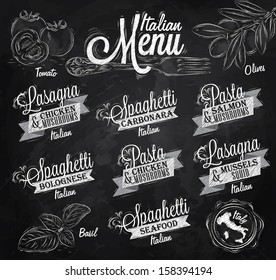Menu italian the names of dishes spaghetti, lasagna, pasta carbonara, bolognese and other ingredients tomato, basil, olive drawing with chalk on the blackboard.