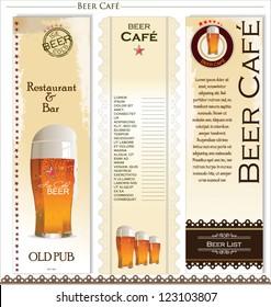 Menu list for beer