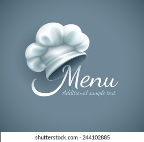 Menu logo with chef cap. Eps10 vector illustration. Gradient mesh used