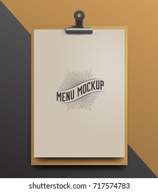 Menu Mockup Realistic Vector Illustration.