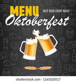 Menu, Oktoberfest lettering with clinking mugs of beer. Holiday, celebration or offer design. Handwritten and typed text, calligraphy. For brochures, invitations, posters or banners.