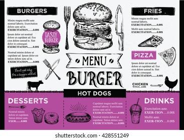 fast food menu images stock photos vectors shutterstock