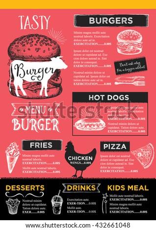 Menu Placemat Food Restaurant Brochure Menu Stock Vector Royalty