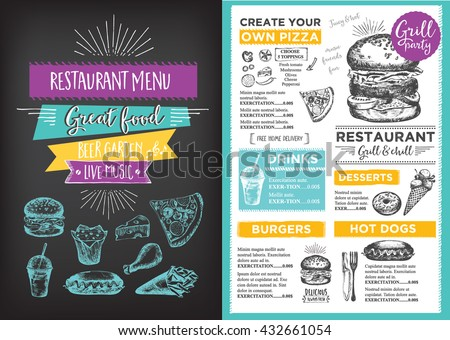 menu placemat food restaurant brochure menu のベクター画像素材