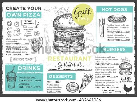 menu placemat food restaurant brochure menu のベクター画像素材