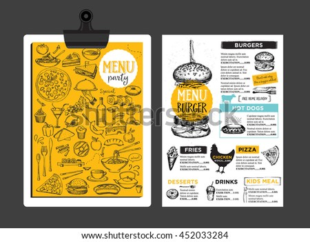 Menu placemat food restaurant brochure, template design. Vintage creative dinner template with hand-drawn graphic.