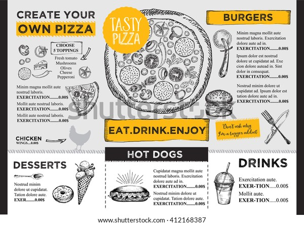 Menu Placemat Food Restaurant Brochure Menu Stock Vector