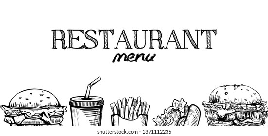Menu poster design with chalkboard elements. Fast food menu skech style. Can be used for layout, banner, web design, brochure template. Vector illustration