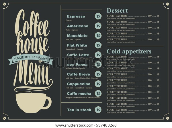 menu with price list for the coffee house with a cup
