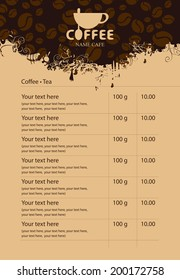 Menu price list with cup of coffee and grains