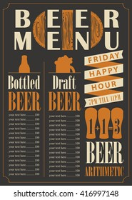 menu for the pub for bottled and draft beer with price list