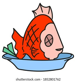 a menu of red snapper. vector illustration of cartoon doodle sticker draw