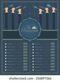 Menu Restaurant Cover, Retro Style Vector Design or Website Banner Template