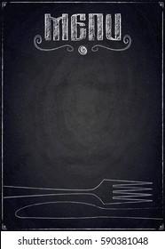 Menu of restaurant on black chalkboard background. Vector illustration
