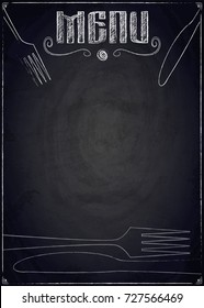 Menu of restaurant on black chalkboard background. Vector illustration